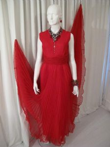 1960's Scarlet pleated chiffon vintage evening gown JACK BRYAN